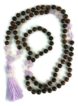 Balance Collection Sandalwood, purple Chalcedony and Matte Agate Traditional Knotted 108 Meditation Mala Necklace with Tassel Yoga Jewelry