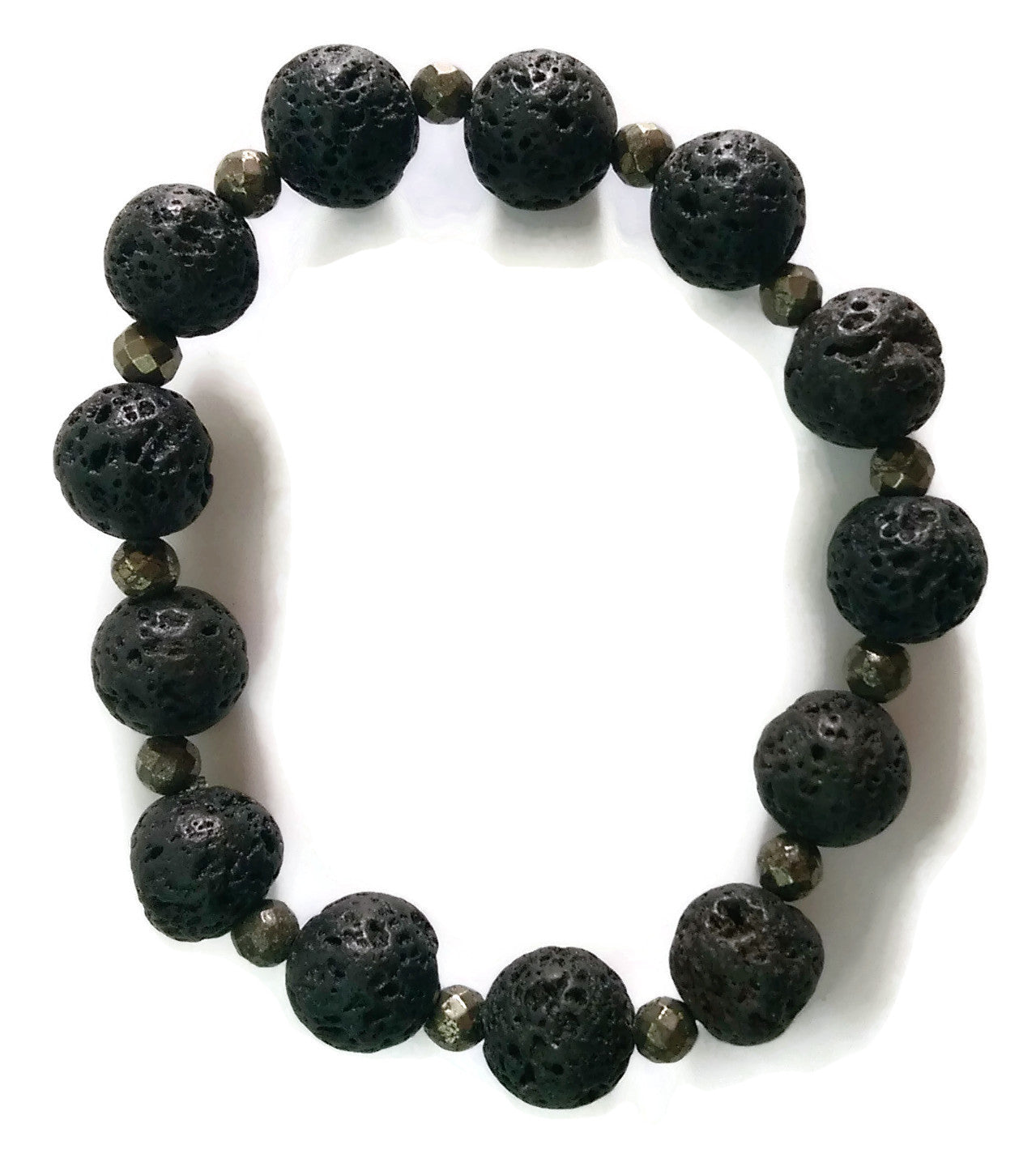 10mm Matte Black Lava and Grey Faceted Pyrite Stone Yoga Wrist Mala Bracelet