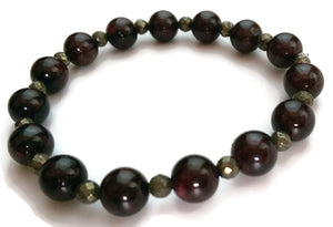 8mm Natural Burgundy Garnet and Grey Faceted Pyrite Stone Yoga Wrist Mala Bracelet