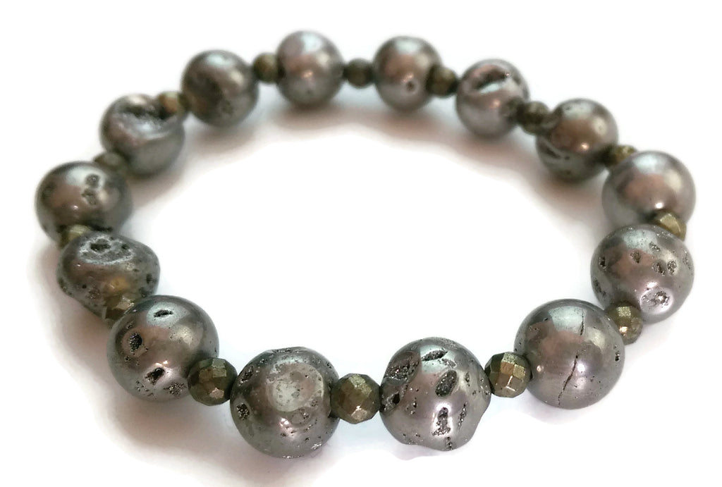 10mm Grey Druzzy Agate and Faceted Pyrite Stone Yoga Wrist Mala Bracelet