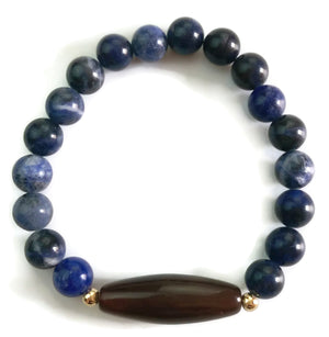 8mm Natural Blue Lapis and Tibetan Medicine Dzi with 24k Gold Stretch Yoga Wrist Meditation Mala Bracelet