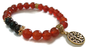 8mm Red Carnelian and Garnet with Gold Tree of Life Charm Yoga Wrist Mala Bracelet