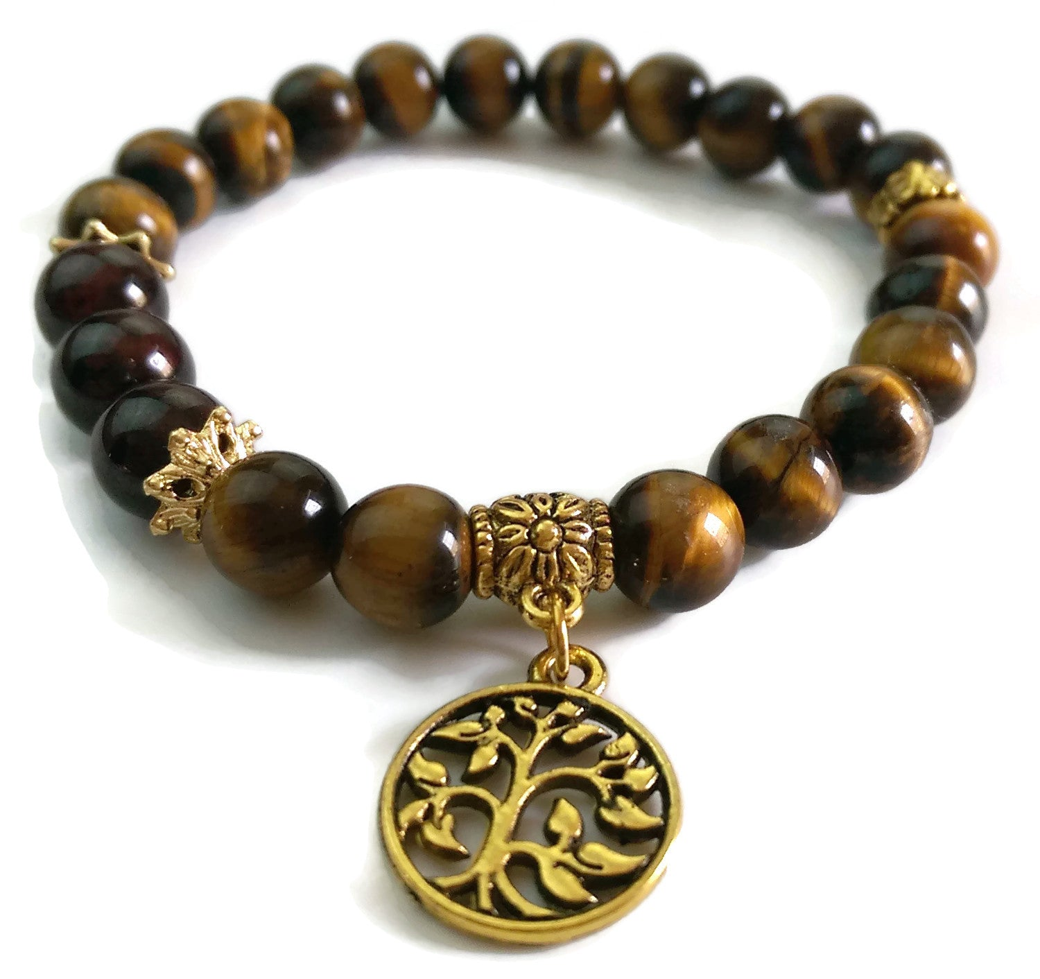 8mm Tigers Eye and Garnet with Gold Tree of Life Charm Yoga Wrist Mala Bracelet