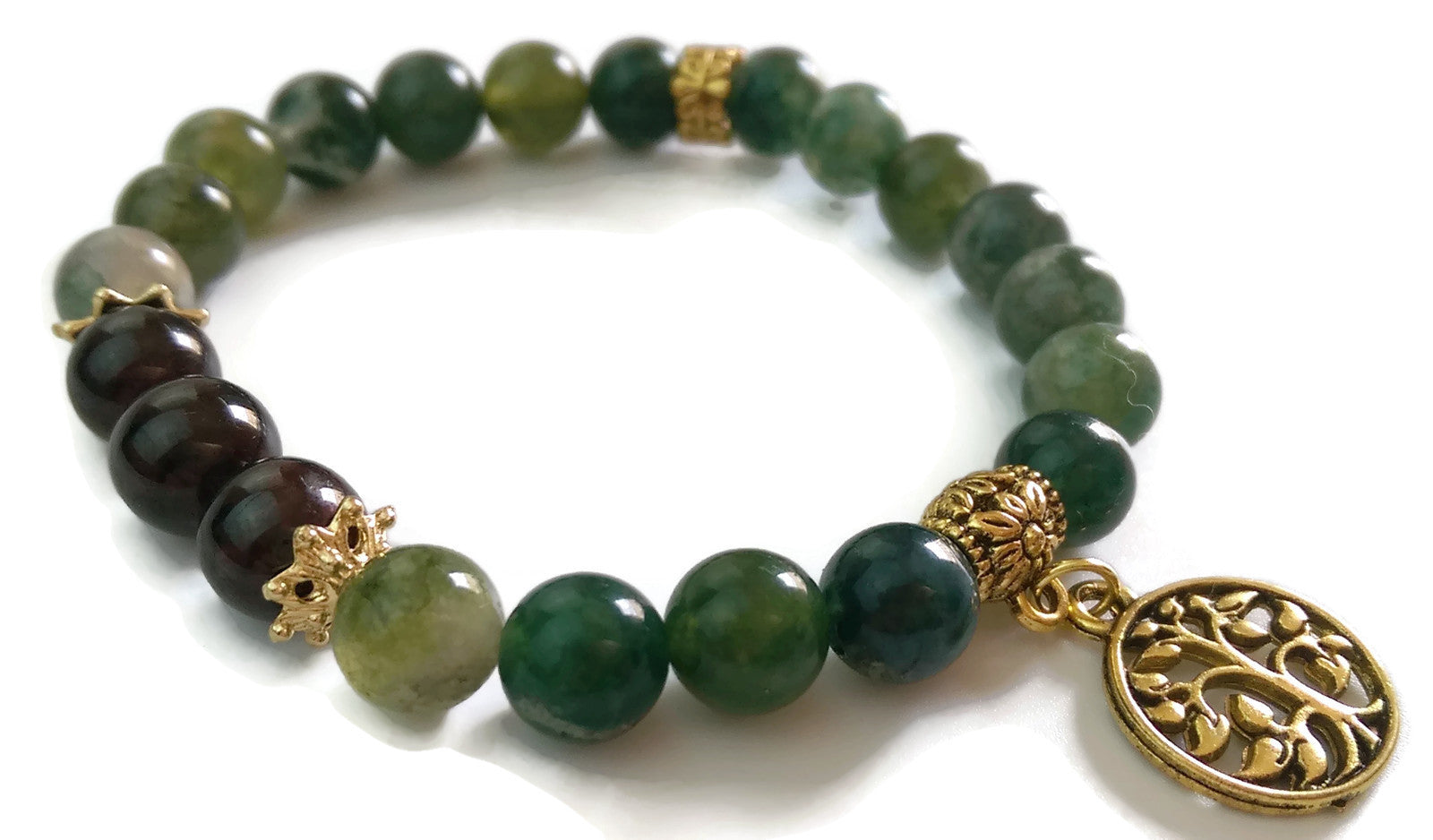 8mm Green Jade and Garnet with Gold Tree of Life Charm Yoga Wrist Mala Bracelet