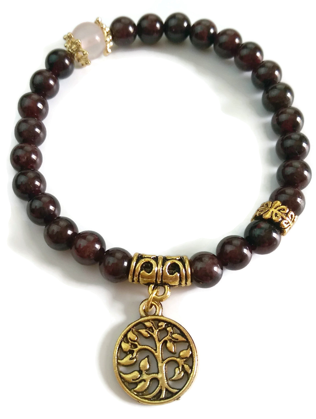 8mm Garnet Stone, Rose Quartz Crystal and Gold Tree of Life Charm Yoga Wrist Mala Stretch Bracelet | Root Base Chakra