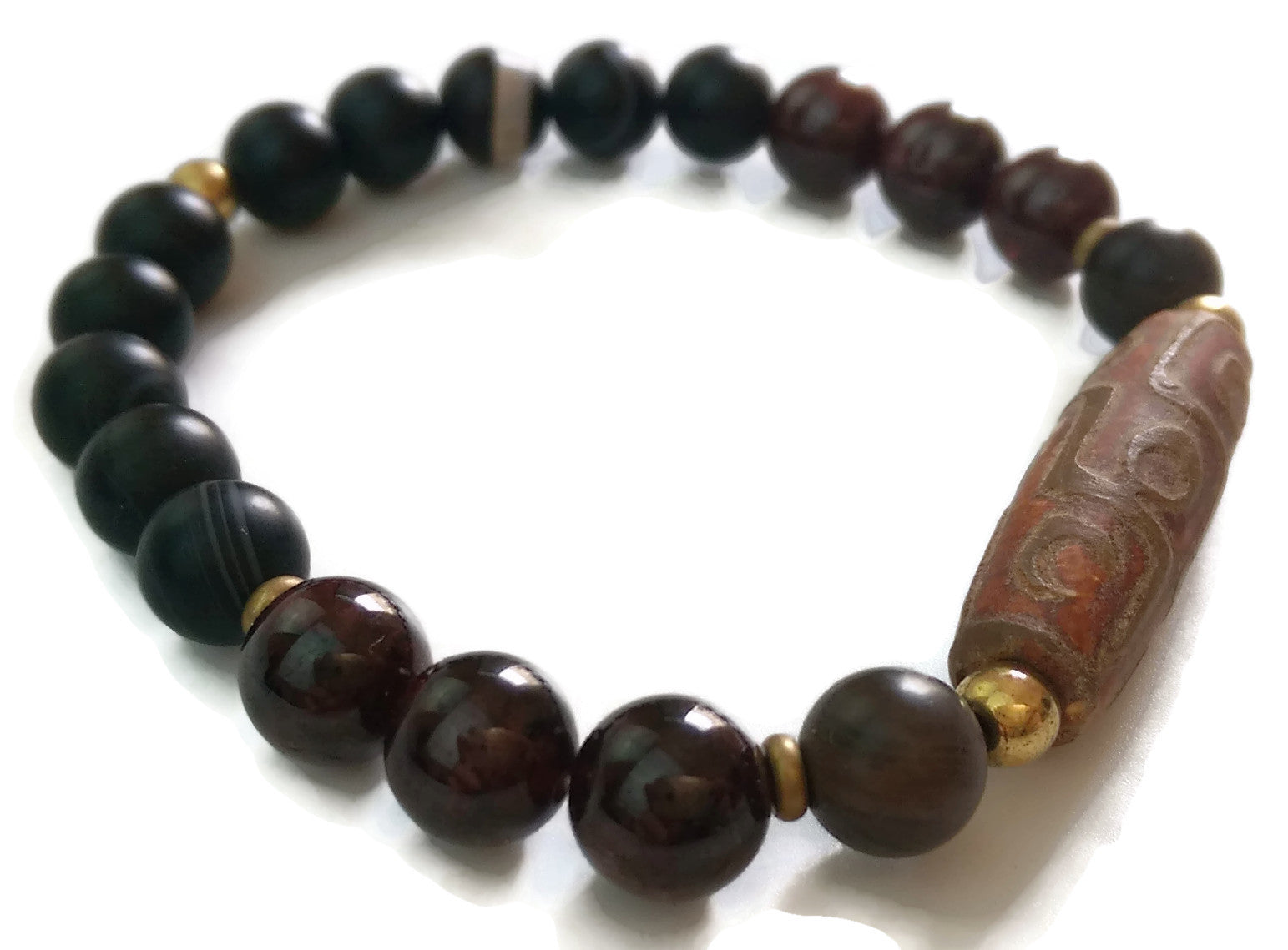 Earth Element 14k Gold Spacers 8mm Garnet, Medicine Dzi, 9 Eye Dzi Bead Minimal Meditation Yoga Wrist Mala Stretch Bracelet | Root Chakra