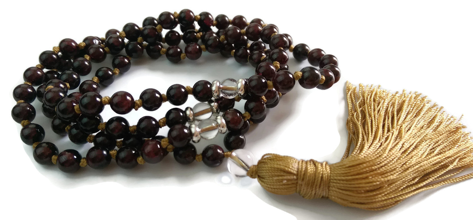 8mm Garnet Stone & Crystal Knotted 108 Meditation Mala Necklace and Copper Tassel | Grounding | Root Base Chakra