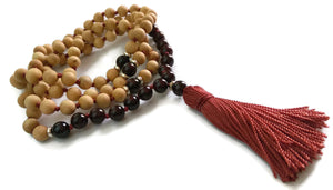 6mm or 8mm Cypress Wood & Garnet Stone Burgandy Knotted 108 Meditation Mala Necklace Tassel | Root Base Chakra
