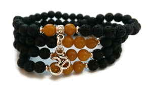 6mm Lava and Topaz Stone with 925 Silver Wrist Wrap Mala Bracelet with Om Charm