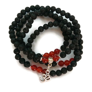 6mm Lava and Carnelian Stone with 925 Silver Wrist Wrap Mala Bracelet with Om Charm