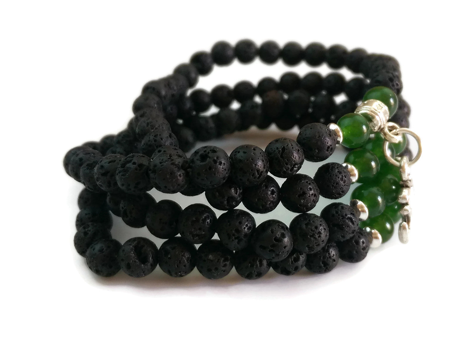 6mm Lava and Green Jade Stone with 925 Silver Wrist Wrap Mala Bracelet with Om Charm