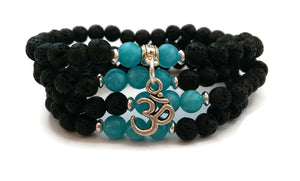 6mm Lava and Aquamarine with 925 Silver Wrist Wrap Mala Bracelet with Om Charm