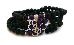 Copy of 6mm Lava and Amethyst with 925 Silver Wrist Wrap Mala Bracelet with Om Charm