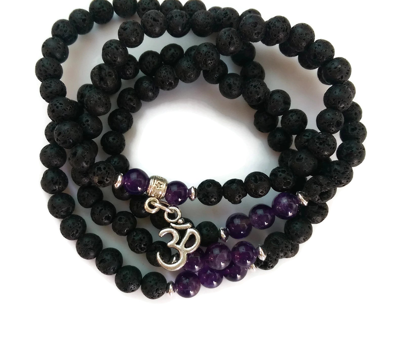 6mm Lava and Amethyst with 925 Silver Wrist Wrap Mala Bracelet with Om Charm