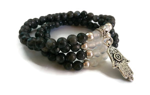 6mm Labradorite and White Jade with 925 Silver Wrist Wrap Mala Bracelet with Hamsa Charm