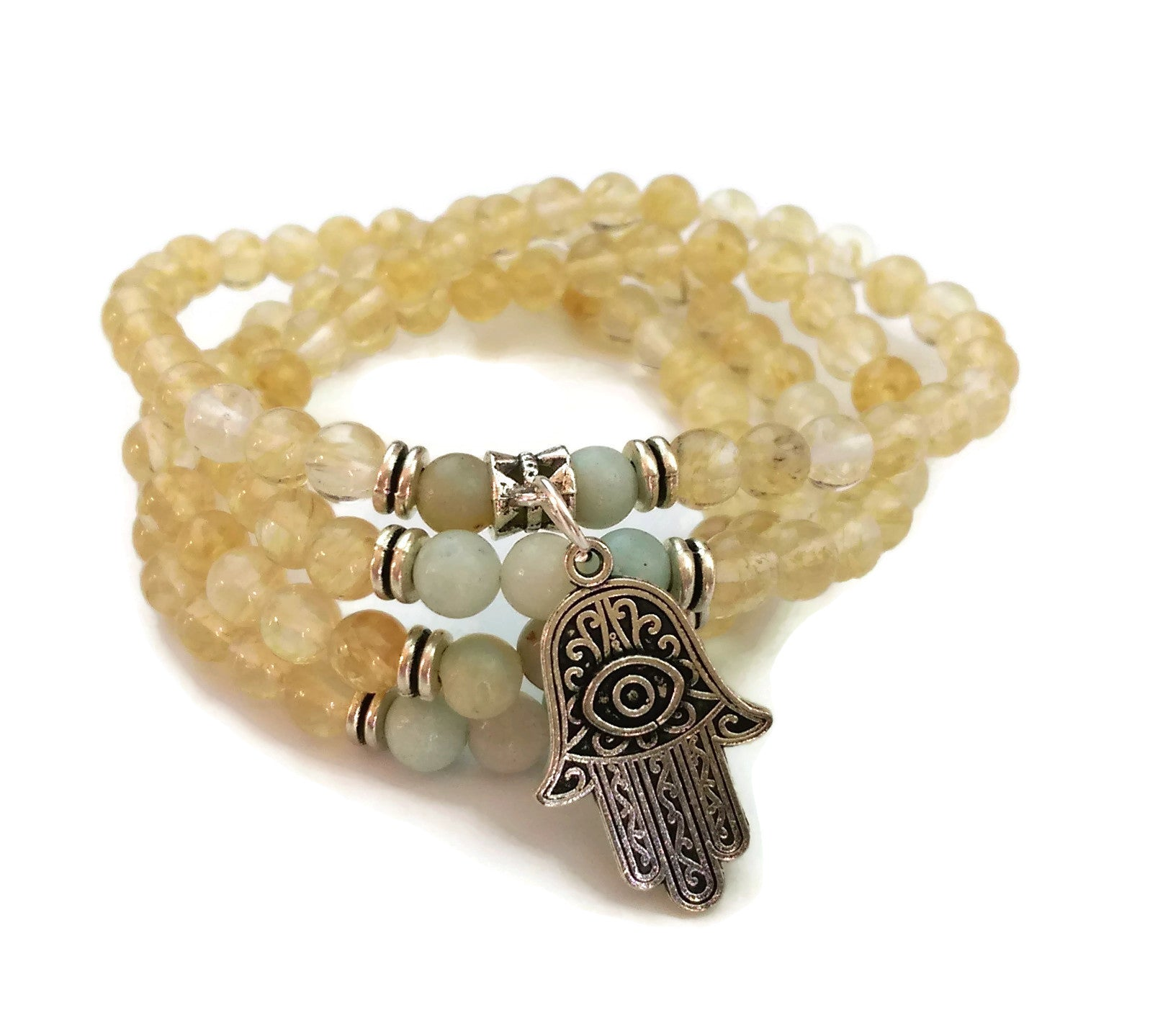 6mm Crystal and Amazonite with 925 Silver Wrist Wrap Mala Bracelet with Hamsa Charm