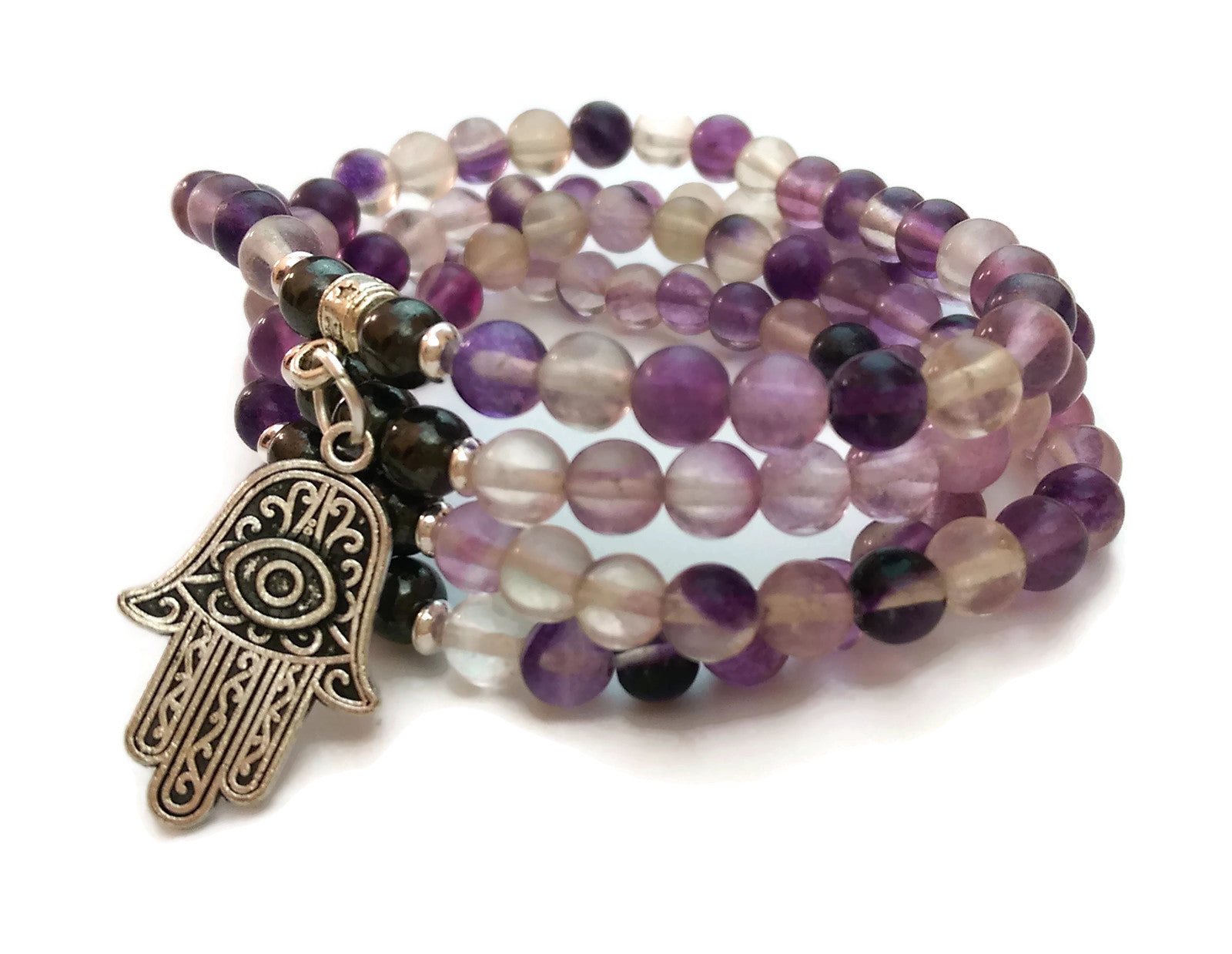 6mm Fluorite and Hematite with 925 Silver Wrist Wrap Mala Bracelet with Hamsa Charm