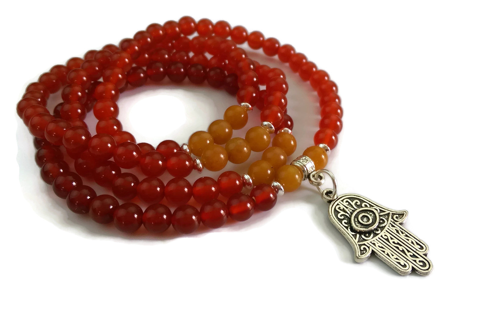 6mm Red Carnelian and Topaz with 925 Silver Wrist Wrap Mala Bracelet with Hamsa Charm