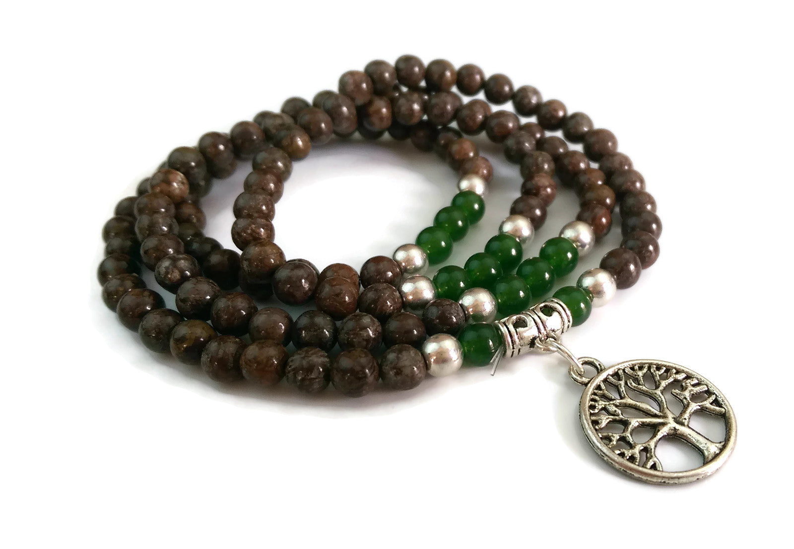 6mm Jasper and Green Jade with 925 Silver Wrist Wrap Mala Bracelet with Tree of Life Charm