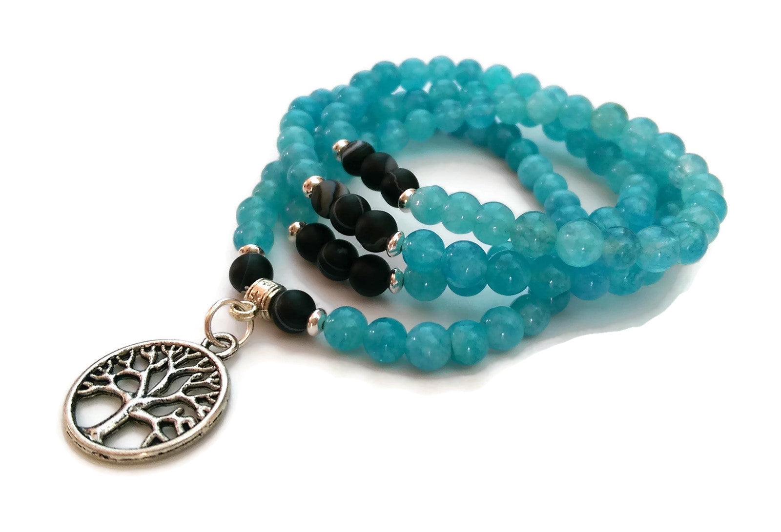 6mm Aquamarine and Dzi Beads with 925 Silver Wrist Wrap Mala Bracelet with Tree of Life Charm