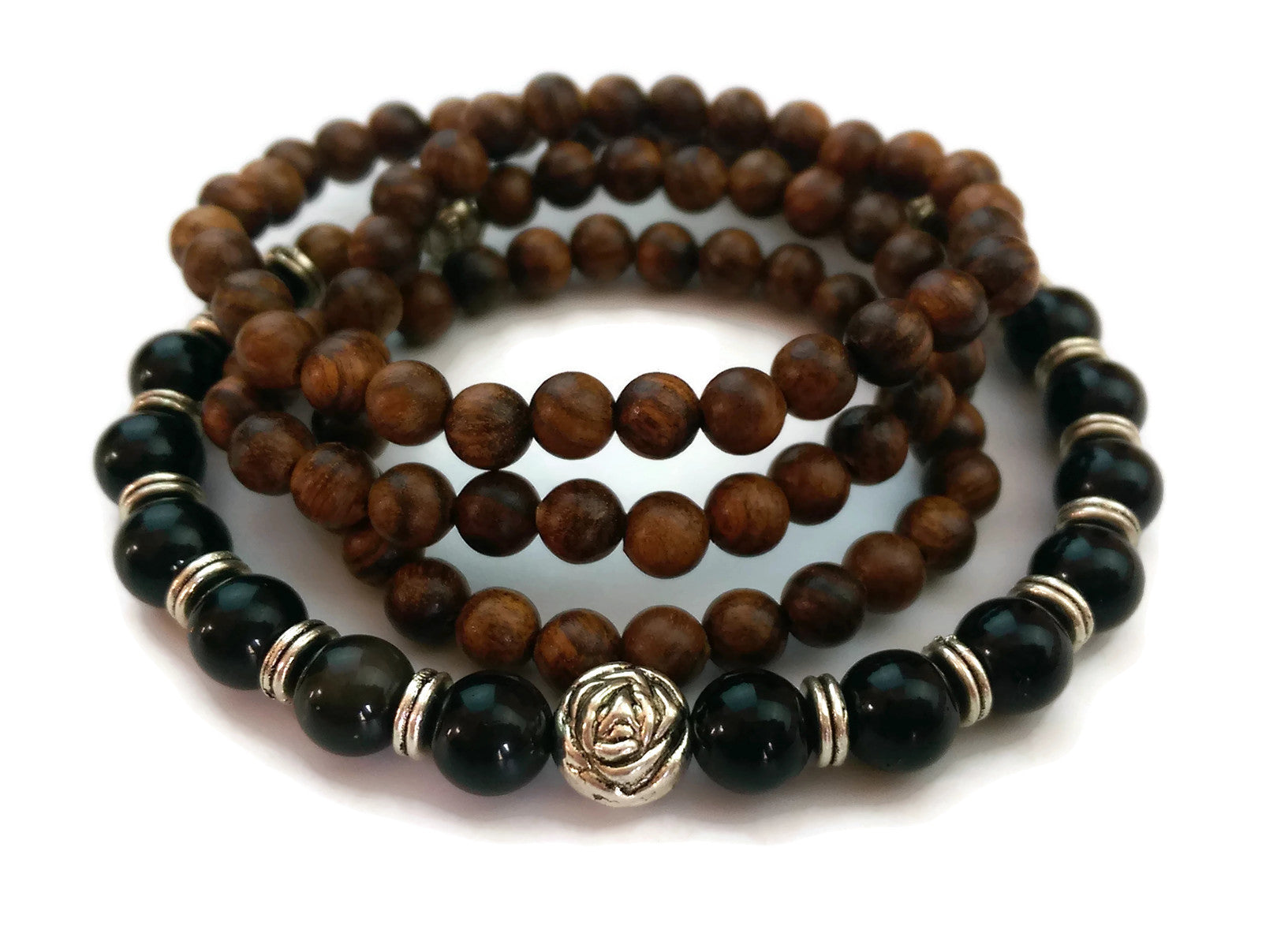 6mm Black Pear Wood and 8mm Obsidian Stone Wrist Wrap Mala Bracelet with Silver Lotus