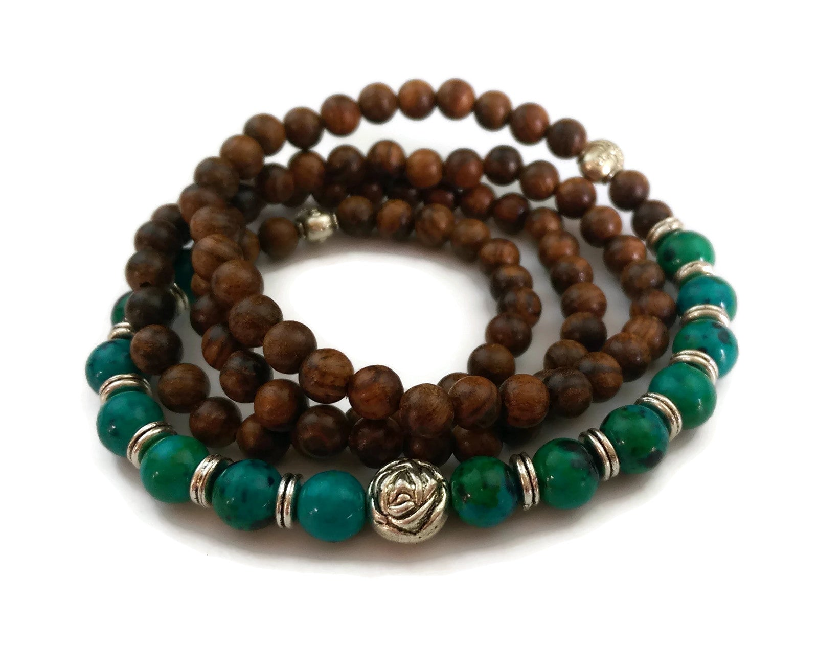 6mm Black Pear Wood and 8mm Phoenix Stone Wrist Wrap Mala Bracelet with Silver Lotus