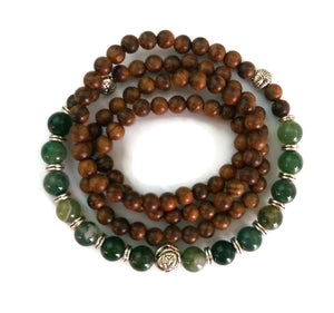 Copy of 6mm Black Pear Wood and 8mm Phoenix Stone Wrist Wrap Mala Bracelet with Silver Lotus