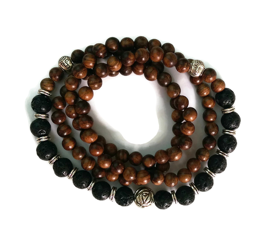 6mm Black Pear Wood and 8mm Lava Stone Wrist Wrap Mala Bracelet with Silver Lotus