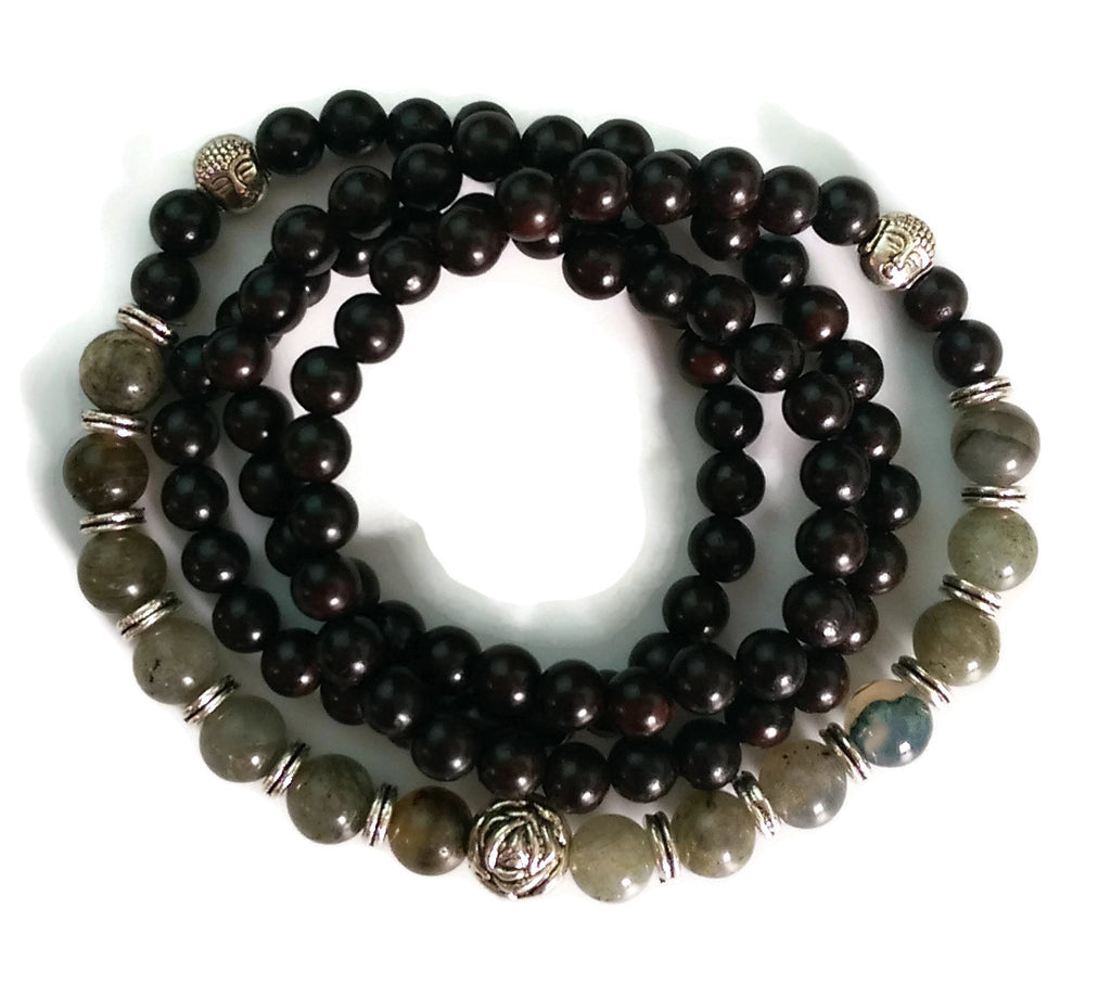 6mm Ebony Wood and 8mm Labradorite Stone Wrist Wrap Mala Bracelet with Silver Lotus
