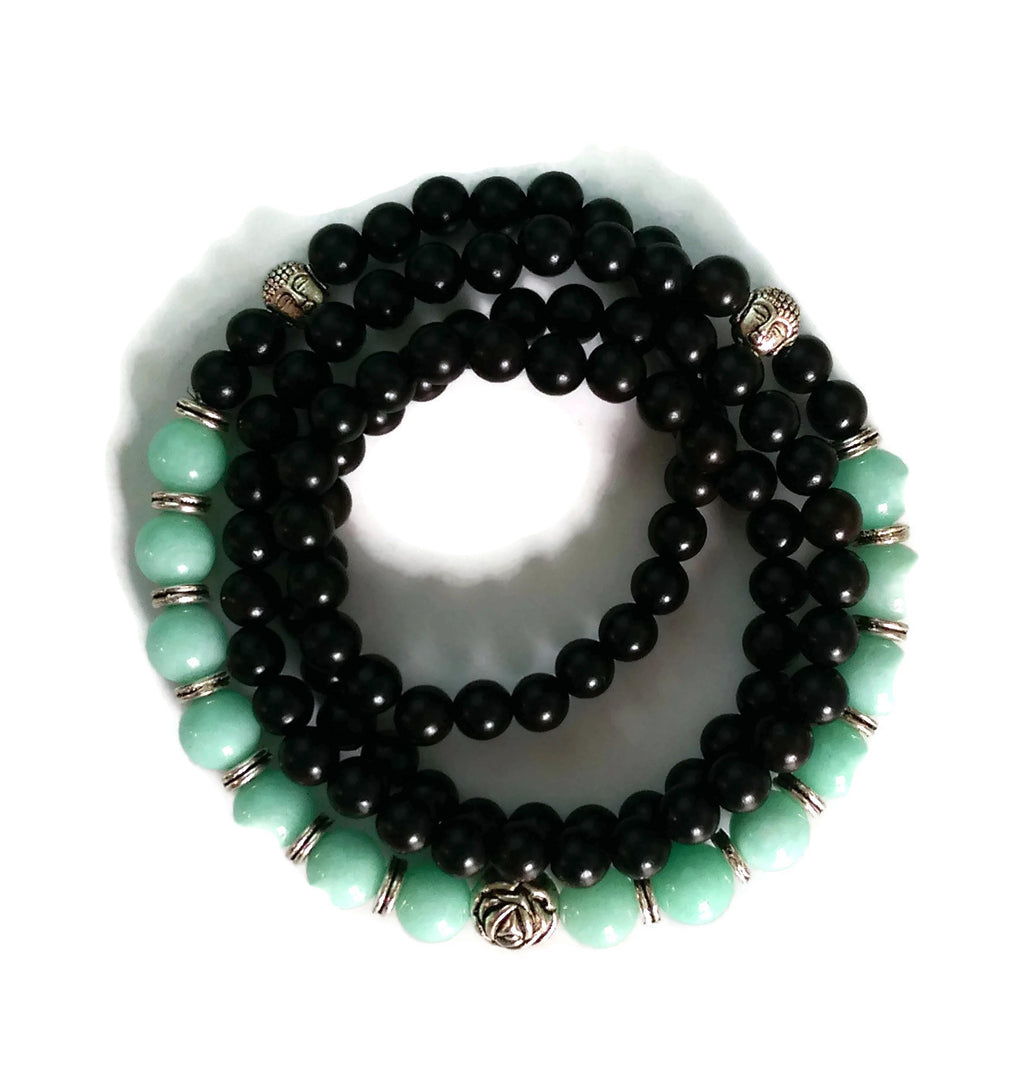 6mm Ebony Wood and 8mm Amazonite Stone Wrist Wrap Mala Bracelet with Silver Lotus