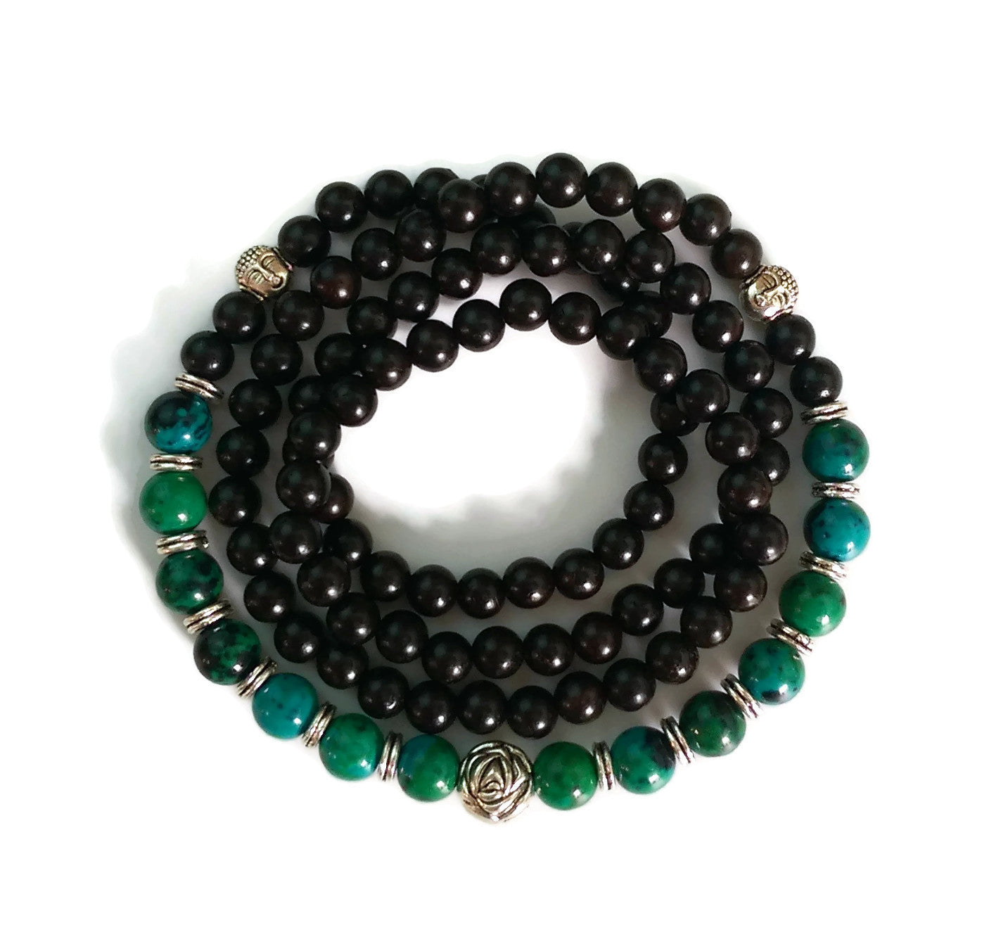 Copy of 6mm Ebony Wood and 8mm Phoenix Stone Wrist Wrap Mala Bracelet with Silver Lotus