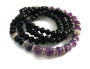 6mm Ebony Wood and 8mm Amethyst Stone Wrist Wrap Mala Bracelet with Silver Lotus