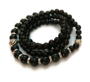 6mm Ebony Wood and 8mm Obsidian Stone Wrist Wrap Mala Bracelet with Silver Lotus
