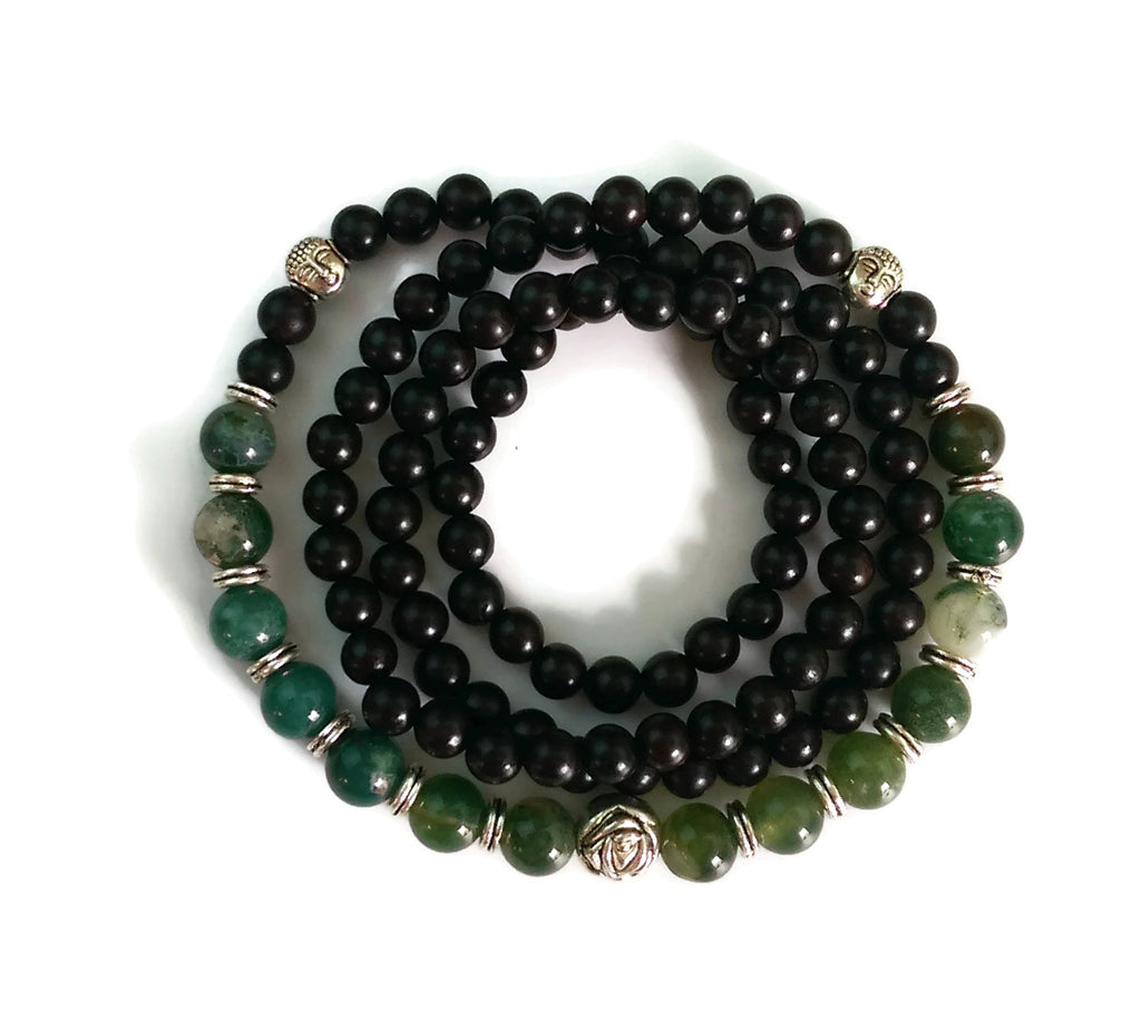 6mm Ebony Wood and 8mm Tree Jade Stone Wrist Wrap Mala Bracelet with Silver Lotus
