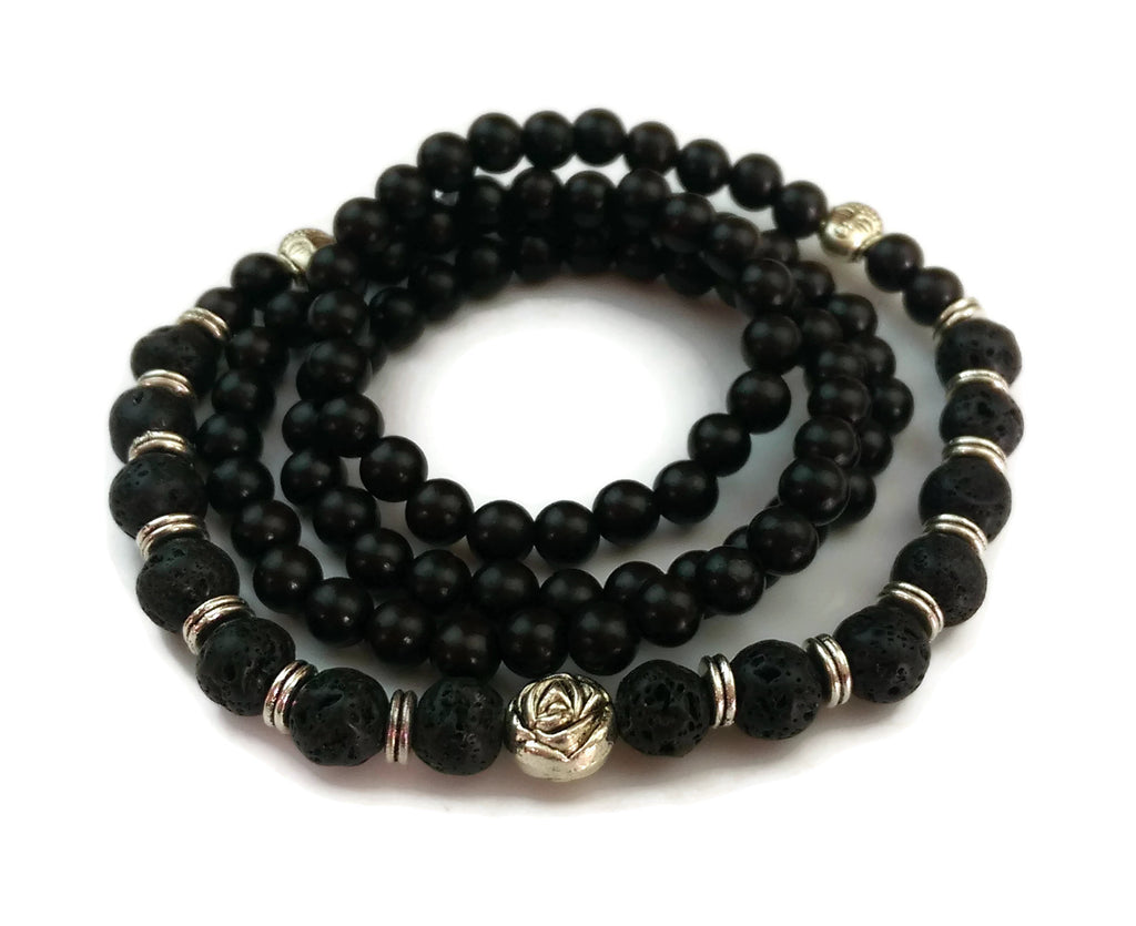 6mm Ebony Wood and 8mm Lava Stone Wrist Wrap Mala Bracelet with Silver Lotus