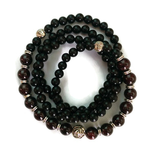 6mm Ebony Wood and 8mm Garnet Stone Wrist Wrap Mala Bracelet with Silver Lotus