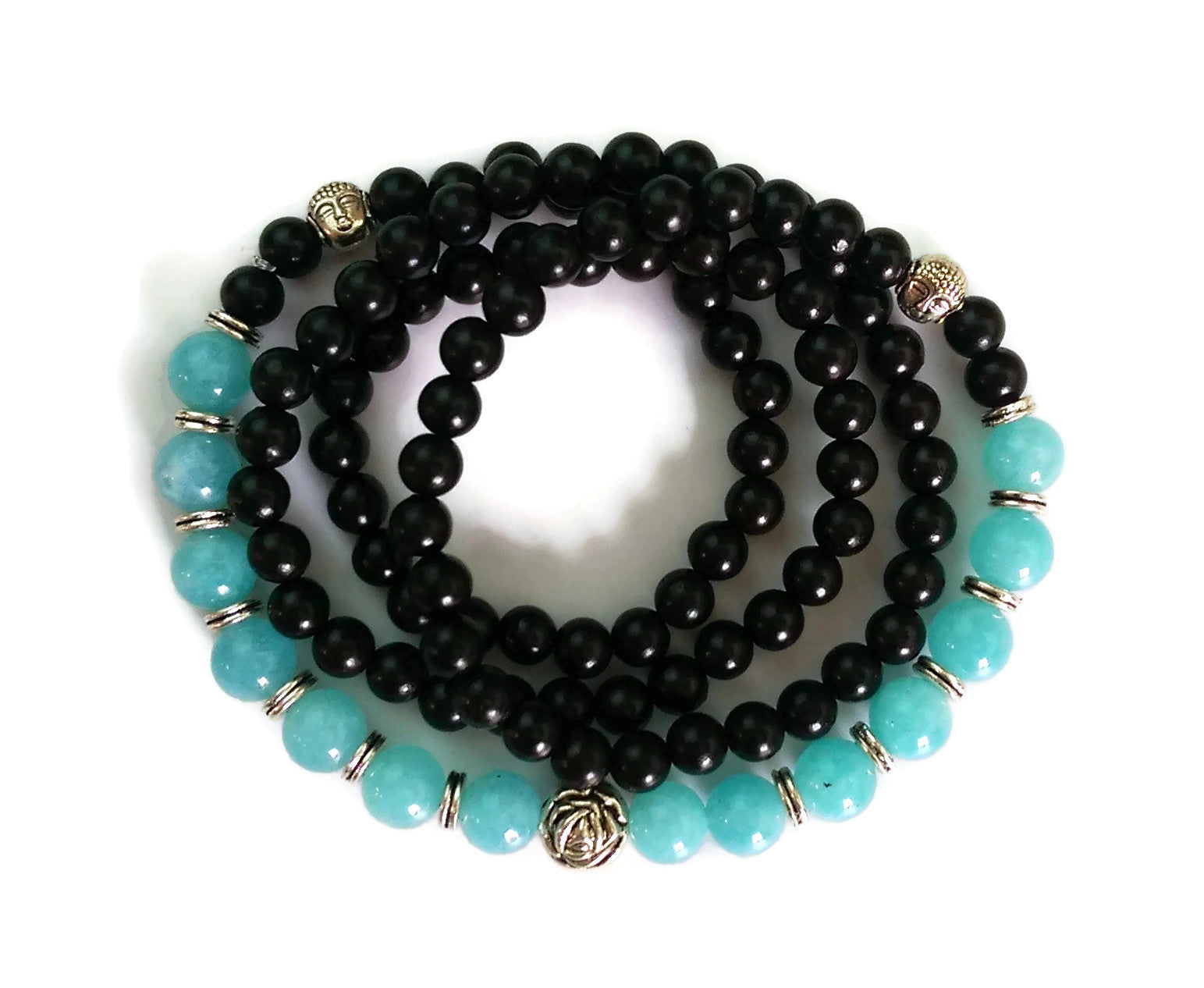 6mm Ebony Wood and 8mm Aquamarine Crystal Wrist Wrap Mala Bracelet with Silver Lotus