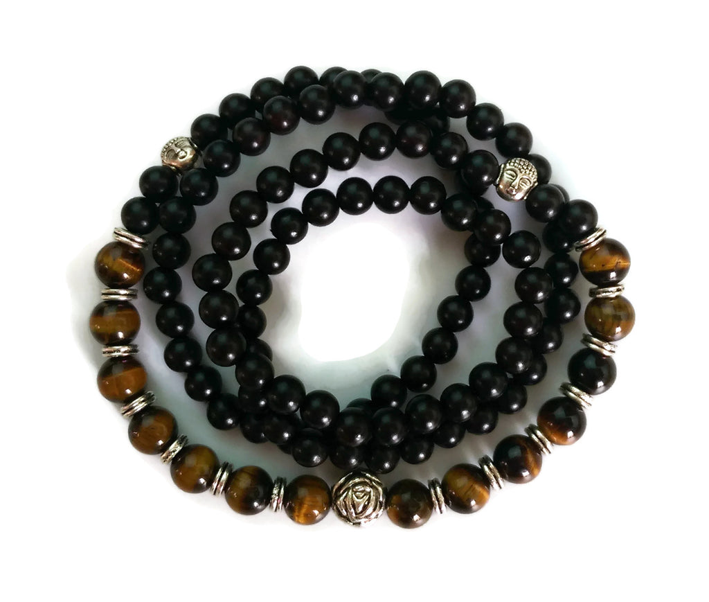 6mm Ebony Wood and 8mm Tigers Eye Stone Wrist Wrap Mala Bracelet with Silver Lotus