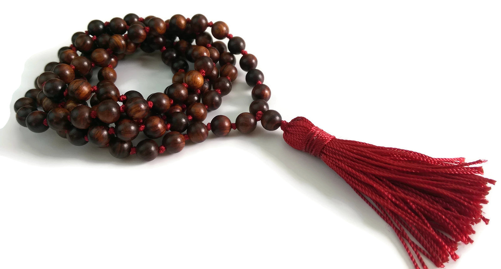 6mm or 8mm Sandalwood & Red String Traditional Knotted 108 Mala Necklace and Tassel | Root Base Chakra