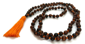 6mm or 8mm Sandalwood & Orange String Traditional Knotted 108 Mala Necklace and Tassel | Sacral Chakra