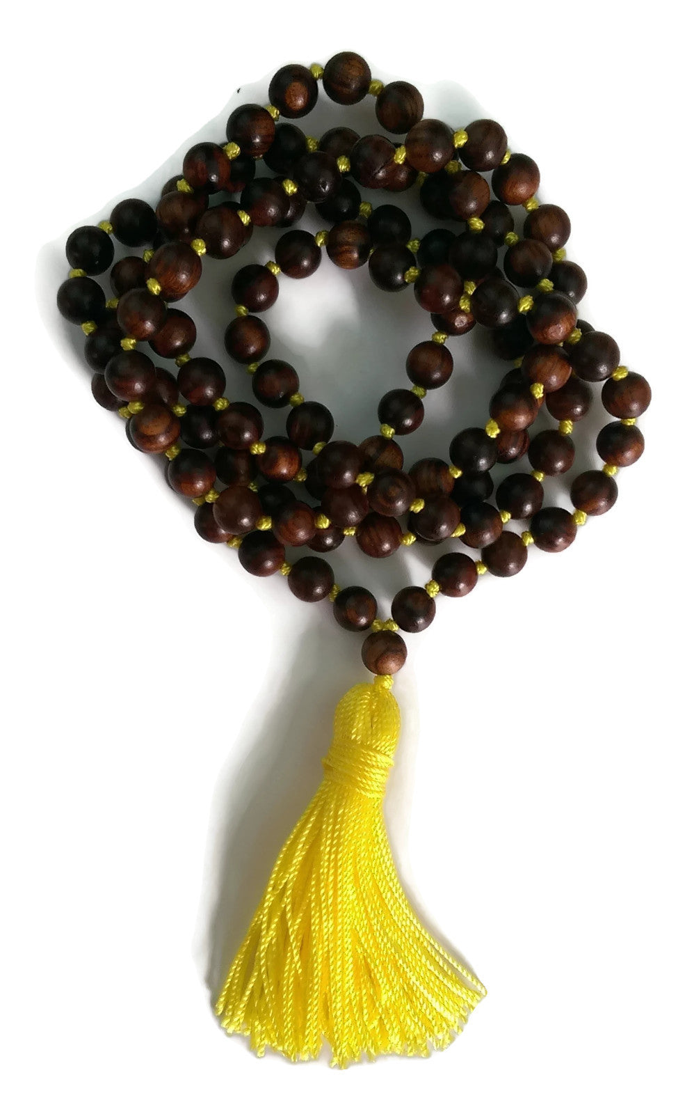 6mm or 8mm Sandalwood & Yellow String Traditional Knotted 108 Mala Necklace and Tassel | Solar Plexus Chakra