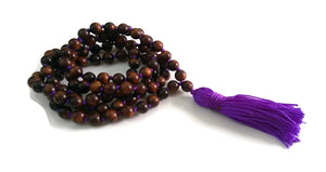 6mm or 8mm Sandalwood & Purple String Traditional Knotted 108 Mala Necklace and Tassel | Crown Chakra