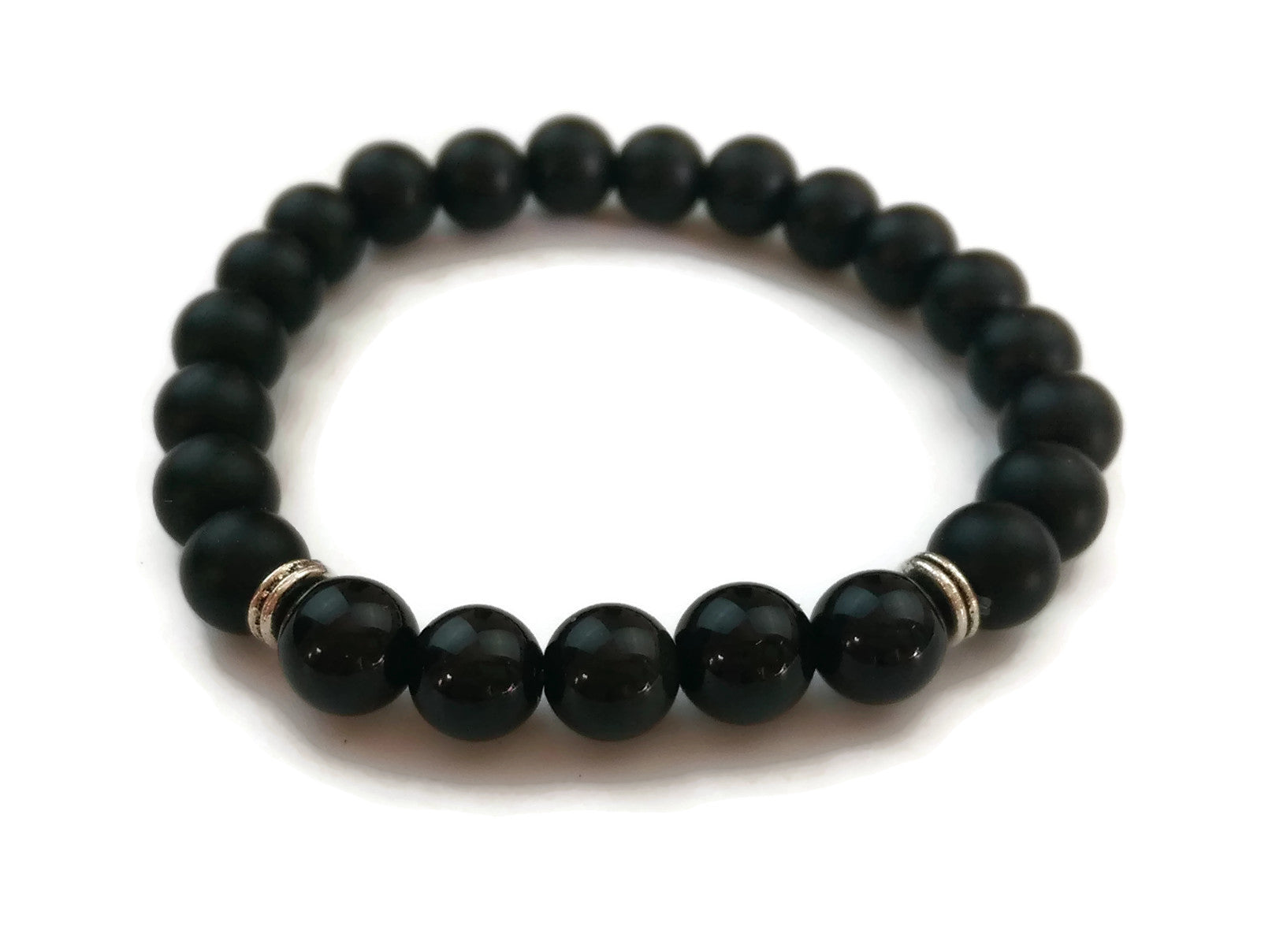 8mm Black Matte Obsidian and Ice Obsidian Stone Silver Stretch Bracelet Minimal Meditation Yoga Stackable Wrist Mala Stretch Root Chakra