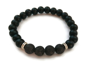 8mm Black Matte Obsidian and Black Lava Stone Silver Stretch Bracelet Minimal Meditation Yoga Stackable Wrist Mala Stretch Root Chakra