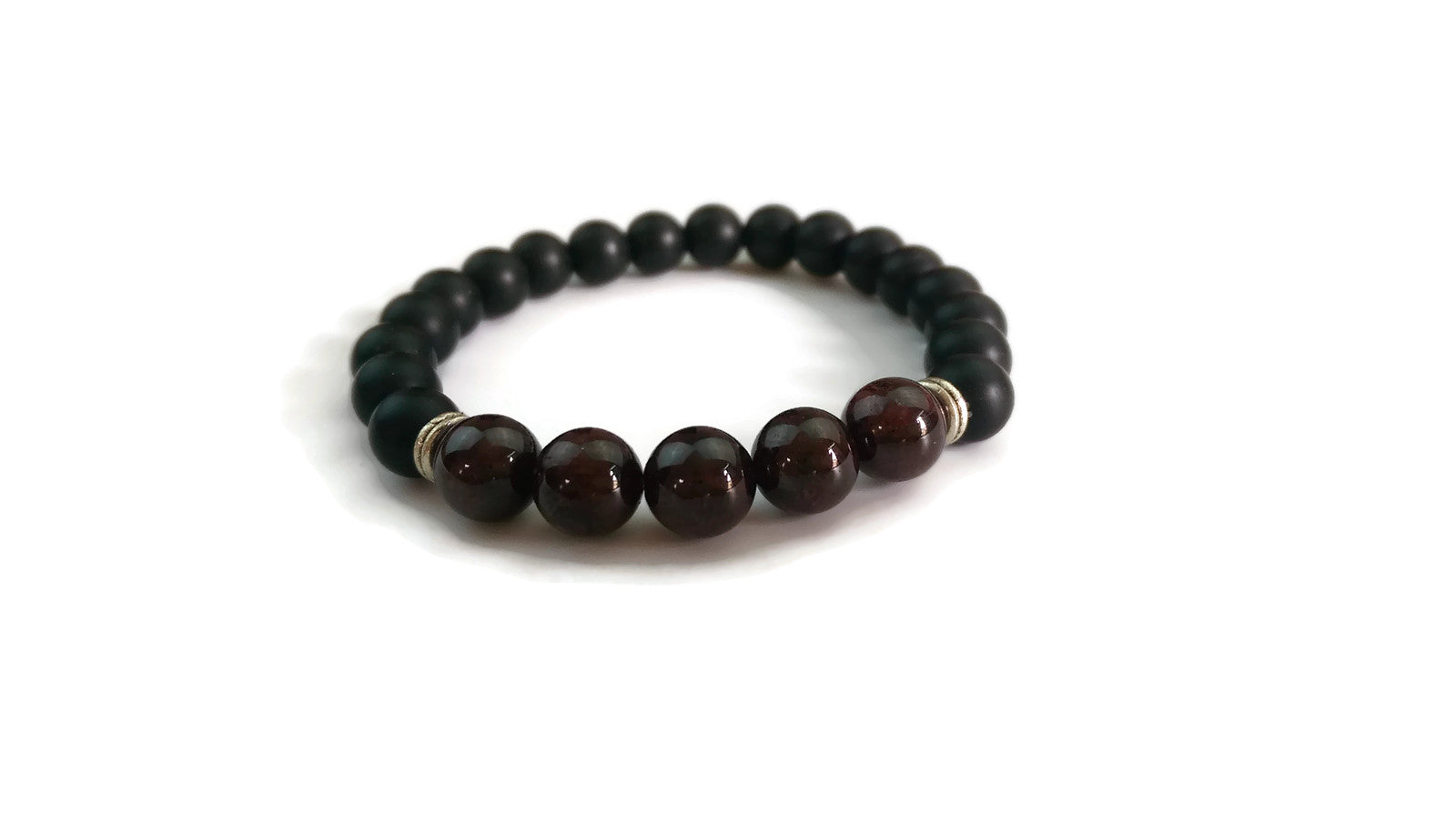 8mm Black Matte Obsidian and Garnet Stone Silver Stretch Bracelet Minimal Meditation Yoga Stackable Wrist Mala Stretch  Root Chakra