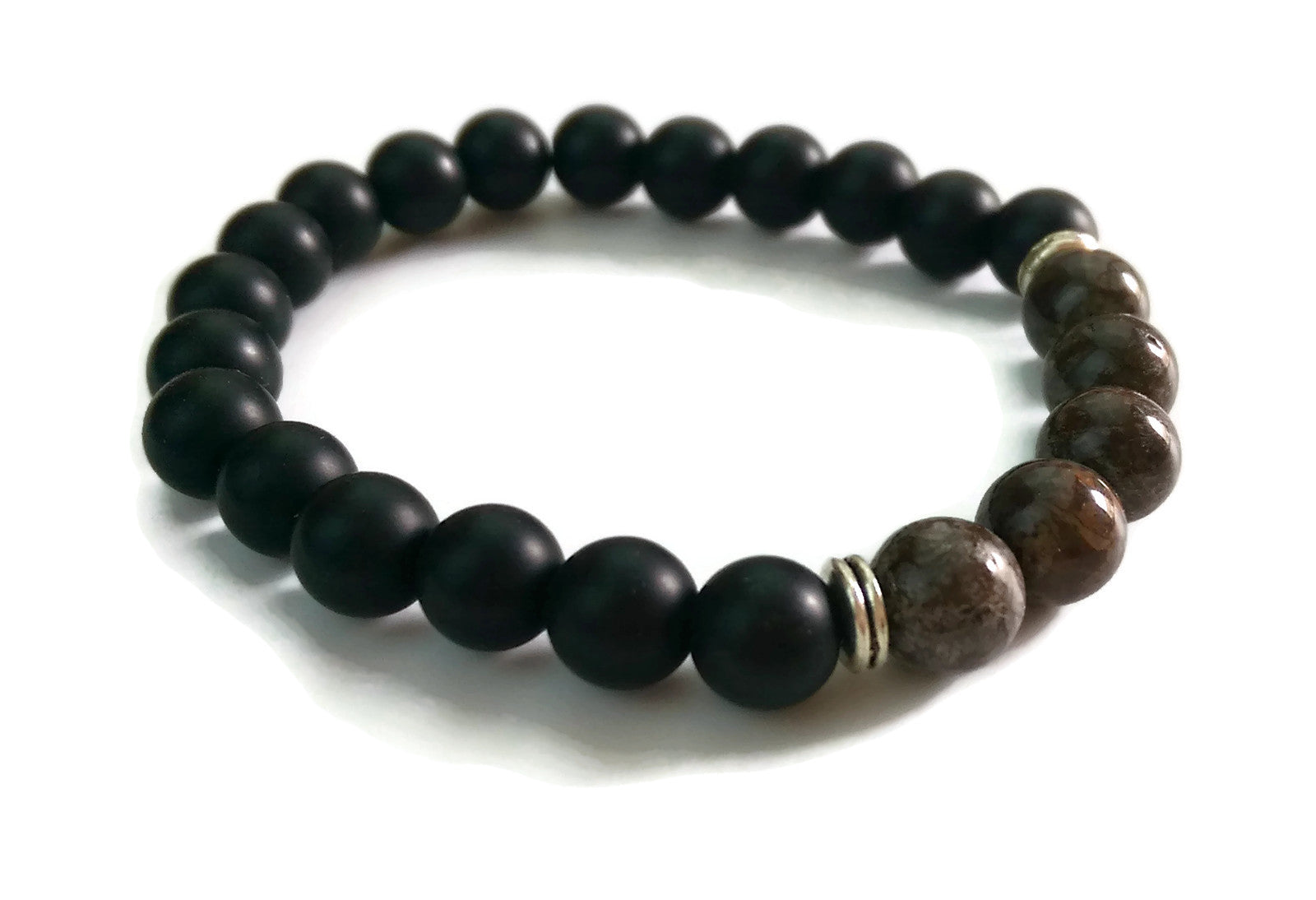 8mm Black Matte Obsidian and Dark Jasper Stone Silver Stretch Bracelet Minimal Meditation Yoga Stackable Wrist Mala Stretch  Root Chakra
