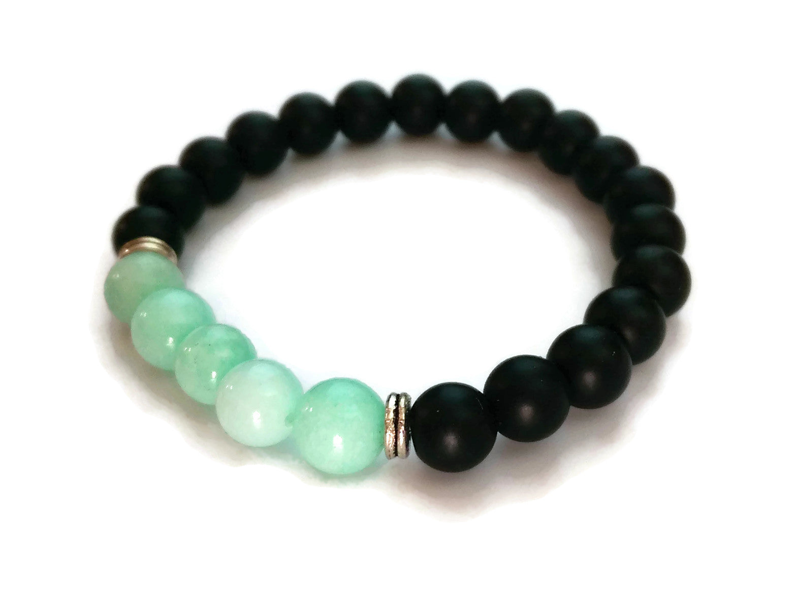 8mm Black Matte Obsidian and Amazonite Stone Silver Stretch Bracelet Minimal Meditation Yoga Stackable Wrist Mala Stretch  Throat Chakra