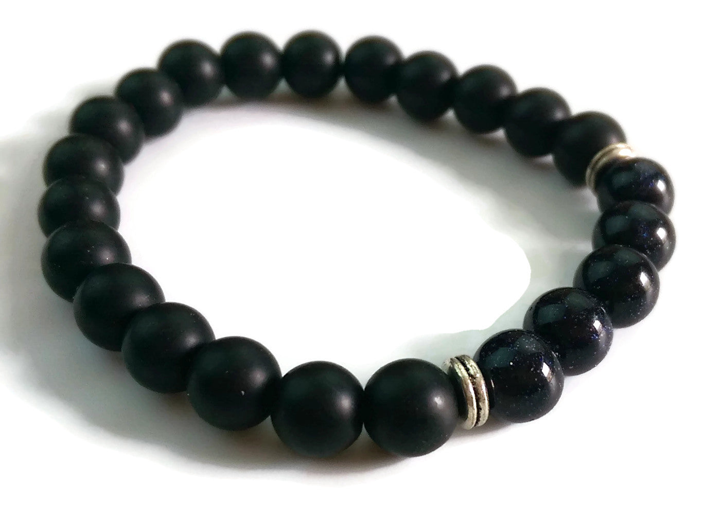 8mm Black Matte Obsidian & Blue Sandstone Stone Silver Stretch Bracelet Minimal Meditation Yoga Stackable Wrist Mala Stretch  Throat Chakra
