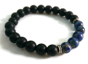 8mm Black Matte Obsidian  Lapis Lazuli Stone Silver Stretch Bracelet Minimal Meditation Yoga Stackable Wrist Mala Stretch  Third Eye Chakra