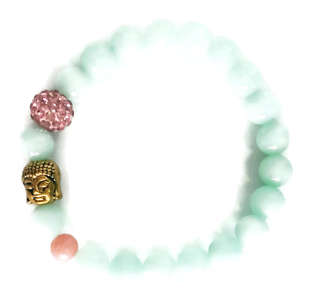 8mm Amazonite, Gold Buddha Head, Pink Shamballa, Pink Chalcedony Wrist Mala / Stretch Bracelet | Meditation | Throat Chakra